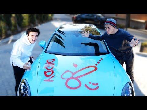 SPRAY PAINTED HIS CAR PRANK!!
