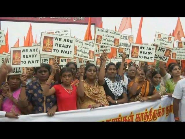 信眾抗議印度神廟開放育齡女性參拜