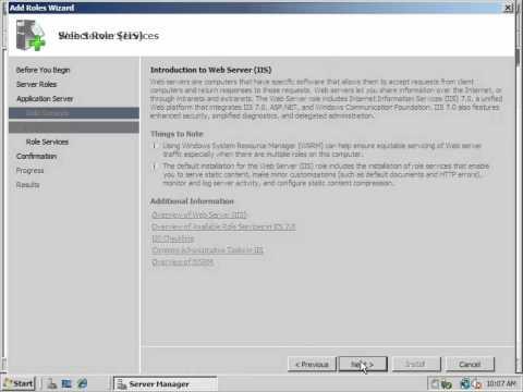 IIS Installation (Windows Server 2008)