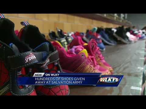 Hundreds of shoes given away at Salvation Army