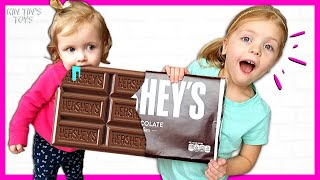 Kin Tin Staged a GIANT CHOCOLATE CHALLENGE | Giant Candy vs Normal Sized Candy | Candy Haul