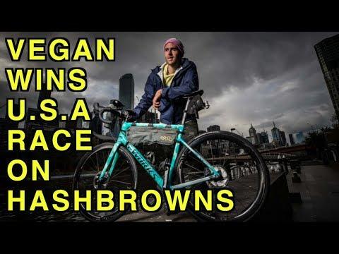 HASH BROWN EATING VEGAN WINS RACE ACROSS U.S.A