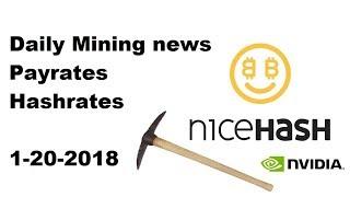 NiceHash Daily news 1-20-18 mining payrates hashrates