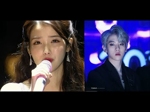171202 Baekhyun Tried to search IU on screen... (Baekhyun Reaction To IU Dear Name @MMA)