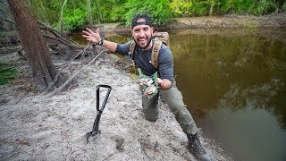 Surviving In The WILD With Limited Tools.. HUNGRY!!! (catch, clean, cook)