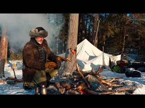 Winter Camping with Two Dogs in a Canvas Tent in the ...