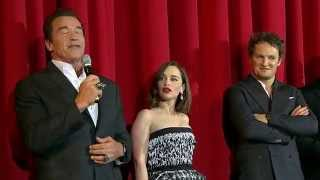Terminator Genisys European Premiere Stage Presentation - Arnold Schwarzenegger, Emilia Clarke