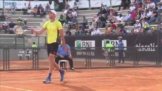 Gulbis showing umpire the wrong mark, Karlovic with the perfect answer