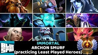BLUE SPAN IMMORTAL ON ARCHON (practicing Least Played Heroes) DOTA 2