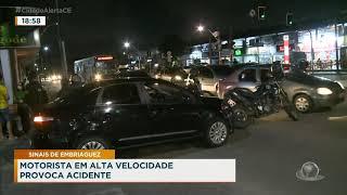 Motorista em alta velocidade provoca acidente