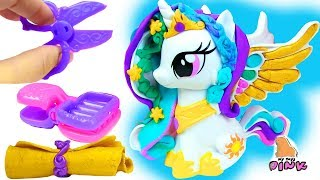 Play Doh My Little Pony ПРИЧЕСКИ ДЛЯ ПОНИ Princess Celestia, Luna & Twilight Toy video for kids