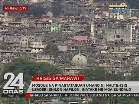 Mosque na pinagtataguan umano ni Maute-ISIS leader Isnilon Hapilon, inatake ng mga sundalo