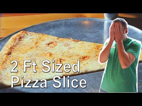 Joey Chestnut Eating Challenge: 2 Ft Sized Mega Pizza Slice Challenge