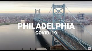 Watch Philadelphia aerial drone footage of COVID-19 quarantine shelter in place, no people/traffic