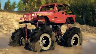 JEEP MEGA MUD TRUCK! 4x4 Lifted Off-Roading, Mudding, & Hill Climbing! (SpinTires Mods)