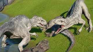 INDOMINUS REX MAX Vs TYRANNOSAURUS REX,SPINOSAURUS,INDORAPTOR,CARNOTAURUS - Jurassic World Evolution