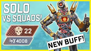 Pathfinder Is Back! Solo Vs Squads 4K 22 Kills With His New Buff In Apex Legends Chaos Theory!