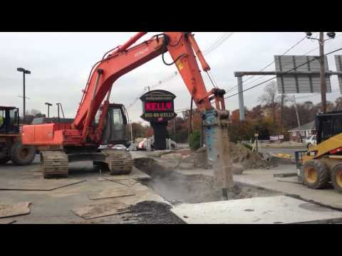 J. Masterson Construction uses a 10k pound hydraulic hammer