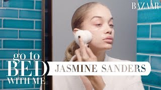 Golden Barbie Jasmine Sanders' Nighttime Skincare Routine | Go To Bed With Me | Harper's BAZAAR