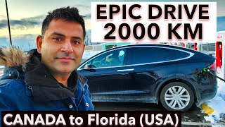 TESLA me 2000 KM ki Drive pe Nikal to Gaye but ...... (Canada to Florida)
