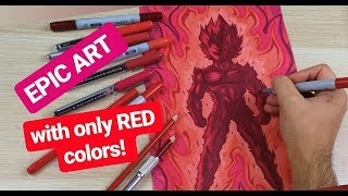 EPIC Vegeta ART with only RED COLORS! Using every Red Pen i Have! | TolgArt