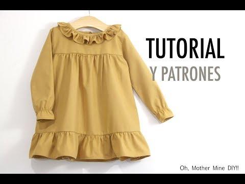Patrones vestido de niña en color azafrán (varias tallas)