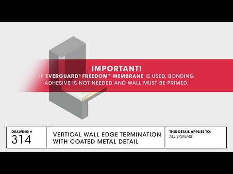 GAF Vertical Wall Edge Termination with Coated Metal for TPO Commercial Roofing - Drawing 314