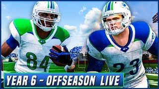 Year 6 OFFSEASON LIVE! (HOUR + PRACTICE GAMEPLAY) NCAA Football 14 Dynasty | Ep.107
