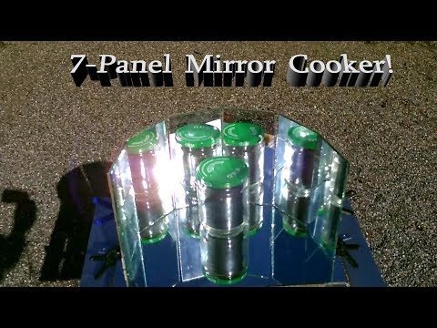 "Solar Mirror Cooker! - The ""7 Mirror"" Parabolic Solar Cooker! w/insulated cooking jar! (200F) Ez DIY"