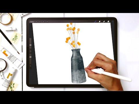 Shiny Fall Vase in Procreate