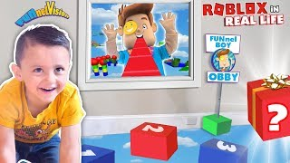 Shawn's ROBLOX OBBY in REAL LIFE!  FUNnel BOY OBSTACLE COURSE by FV Family