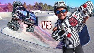 RC Car vs Skateboard Adventure!!