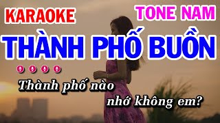 Karaoke Thành Phố Buồn   Nhạc Sống Tone Nam   Karaoke Công Trình