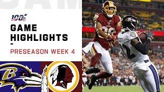 Ravens vs. Redskins Preseason Week 4 Highlights | NFL 2019