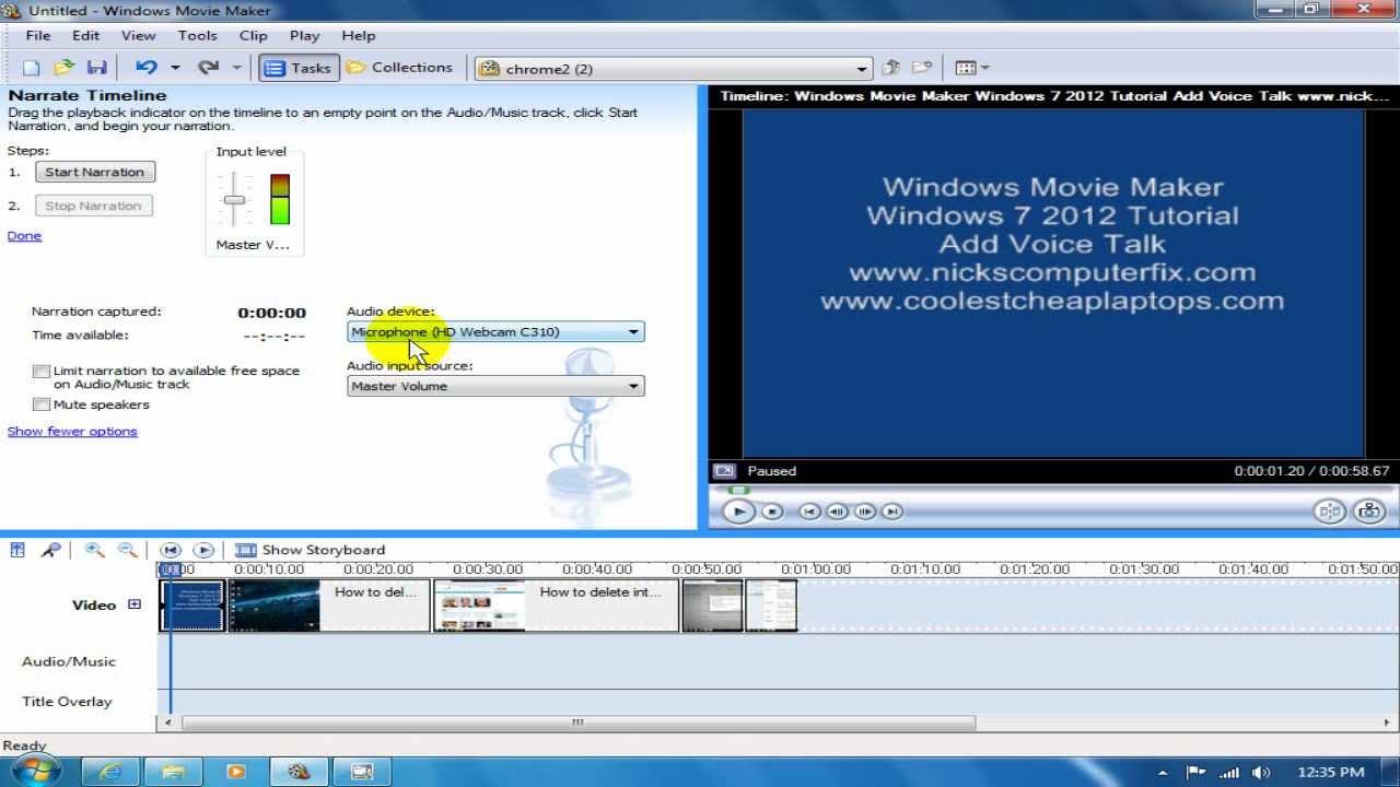 Windows Movie Maker Windows 7 2012 Tutorial - Do Voice - YouTube