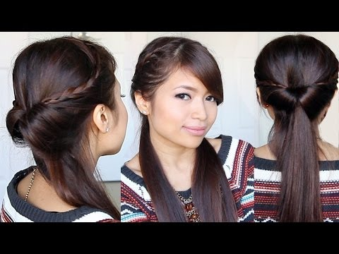 Tucked In Lace Braid Half-up Half-down Hairstyle Hair Tutorial - Smashpipe Style