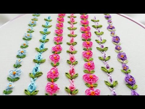 Hand Embroidery: mini border line | loop flower