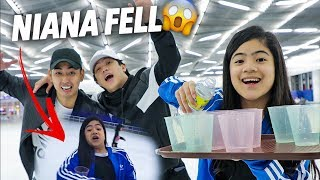 Ice Skating Waiter Challenge! (Niana Fell) | Ranz and Niana
