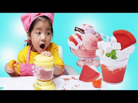 나도 엄마처럼 하고 싶어요!! 서은이의 똘똘이 주스 믹서기 색깔 모래 아이스크림 놀이 주스 과일 만들기 Making Ice Cream and Juice Blender Toys