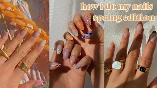 HOW I DO EASY SPRING NAILS   did it with my non-dominant hand too