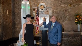 Tony Bennett's 90th Birthday Celebration w/ Tony Bennett & Lady Gaga - ESB Lighting Ceremony
