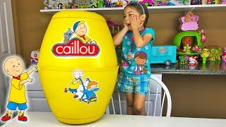 Huge Caillou Surprise Egg & Fun Surprise Toys Opening Kids Toy Review & Unboxing Learning Doll