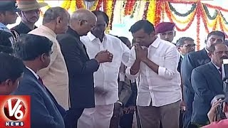 President Ramnath Kovind arrives to attend World Telugu Co..