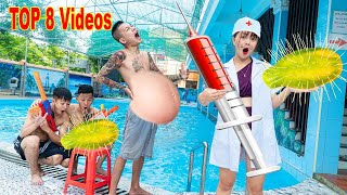 TOP 8 Videos On August - UNDERWATER PREGNANCY PRANK  BATTLE Fight Criminal | Action Nerf