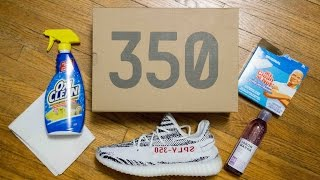 Cleaning a stained Primeknit upper: Adidas Yeezy 350 V2 Zebra (Jason Markk, Magic Eraser, OxiClean)