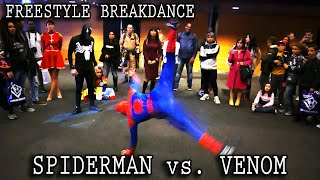 Real Life SPIDER-MAN vs. VENOM :: INSANE Freestyle Breakdance Battle!! [Retrocon 2016] - Sevenblade