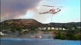 Anaheim Hills Wild Fire 9/25/2017 water-dropping helicopters refilling