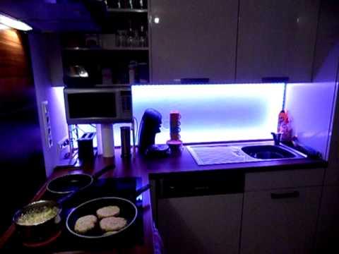 indirekte led beleuchtung k che youtube. Black Bedroom Furniture Sets. Home Design Ideas