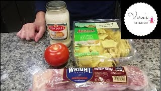 How to cook Four cheese Ravioli with Alfredo sauce and Bacon (Easy Recipe)