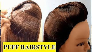 Puff Hair style Tutorial for without puff tool | How To Make Perfect Puff Hairstyle